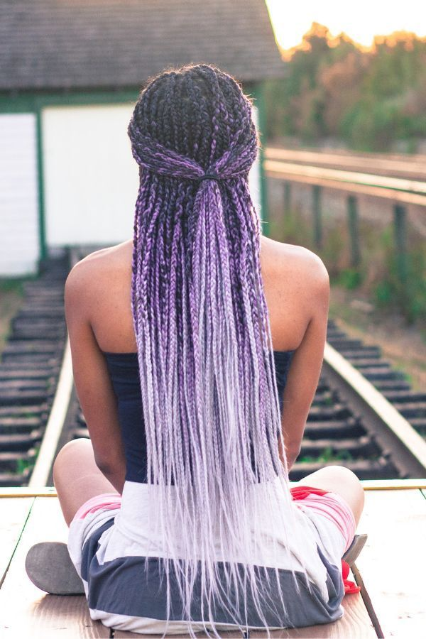 Photo of Gray and Purple Ombre Box Braids, #Box #Braids #Braidsforkids …
