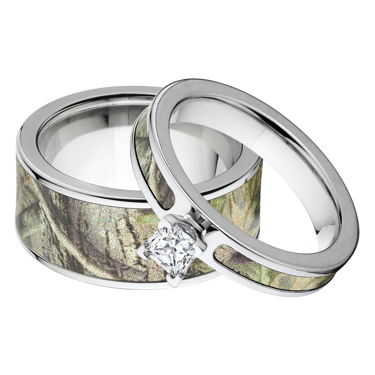 Realtree AP Green Matching Camo Ring Set for Him and Her