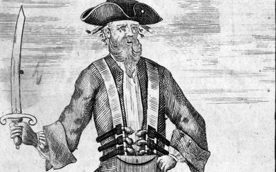 Blackbeard, as pictured by Benjamin Cole in the second edition of Charles Johnson's General Historie[8]
