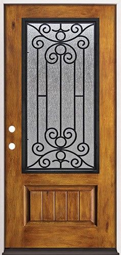 Rustic Pre Finished Fiberglass Prehung Door Unit With Iron Grille #34