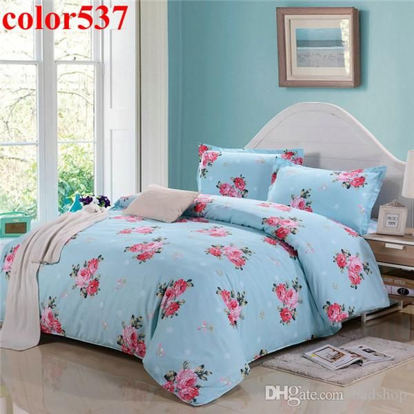 cotton home textile flower bedding set king size bedspread brand bed sheet quilt cover pillow case super quality