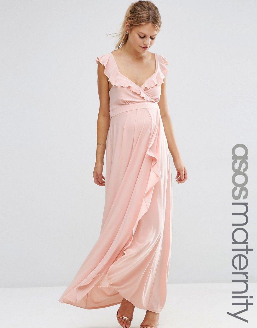 1e7be371ef23c ASOS+Maternity+Soft+Maxi+Dress+With+Ruffle | Baby Shower Ideas ...