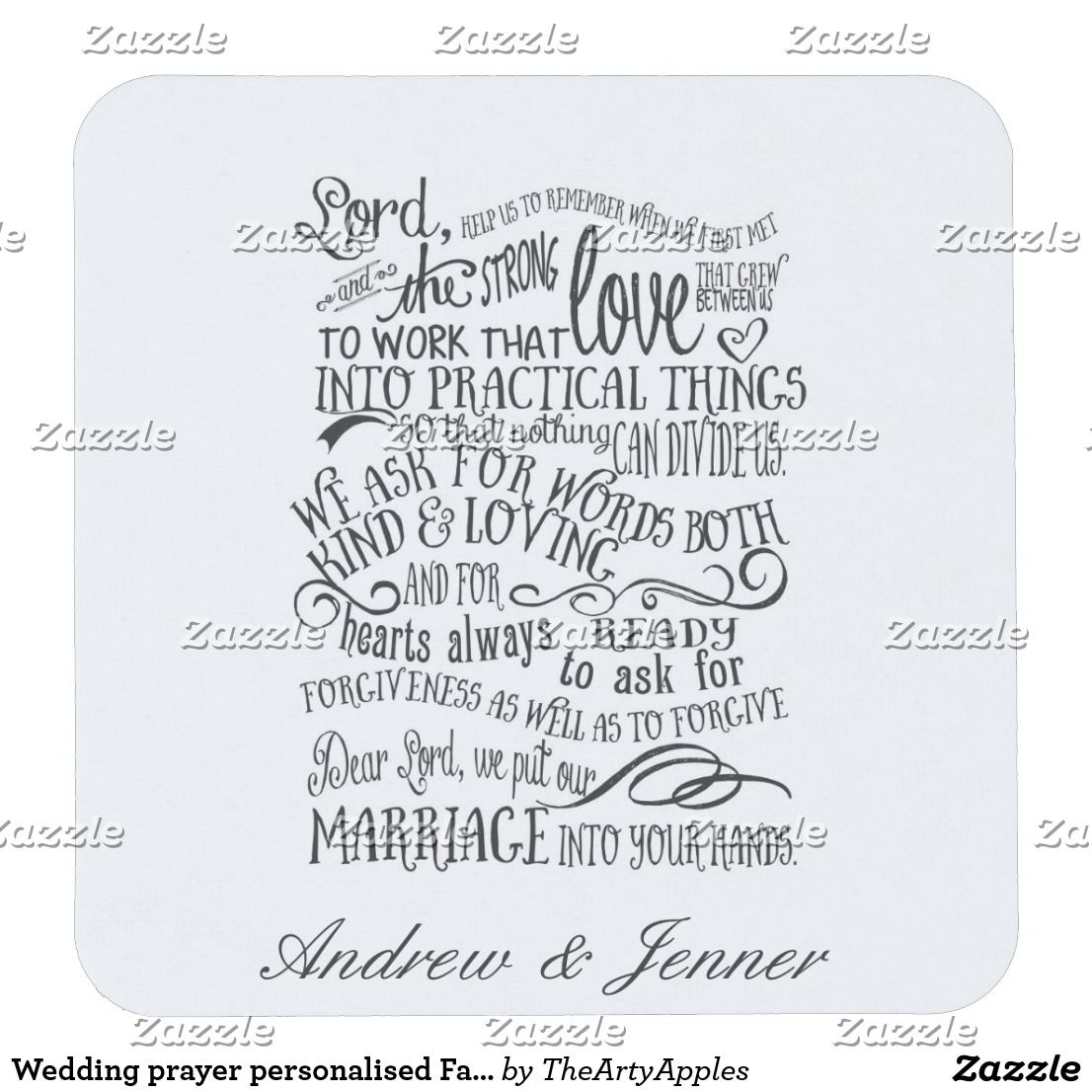 Wedding prayer personalised Favor wedding coaster | Coasters ...