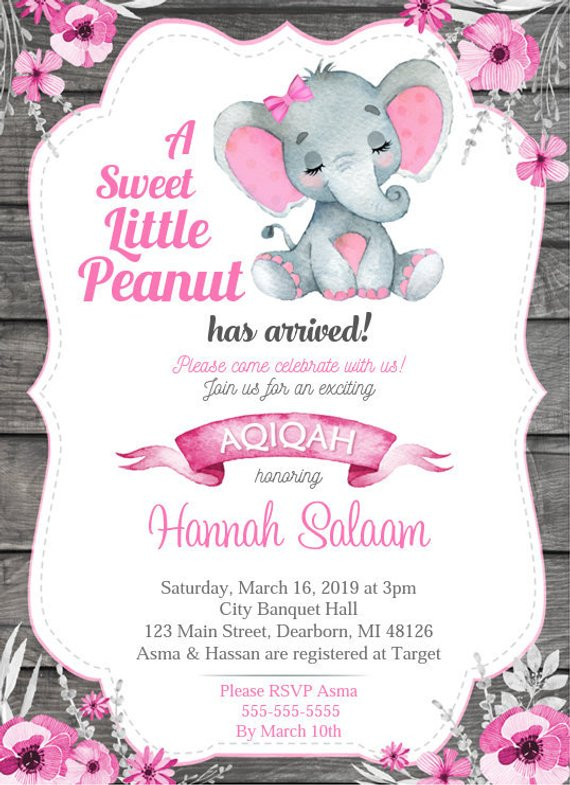 Aqiqah Invitation Elephant Theme Pink Gray Girl Aqeeqah Diy Printable Invitation Free Thank You Card Islam Elephant Baby Shower Invitations Girl Invitations Free Thank You Cards
