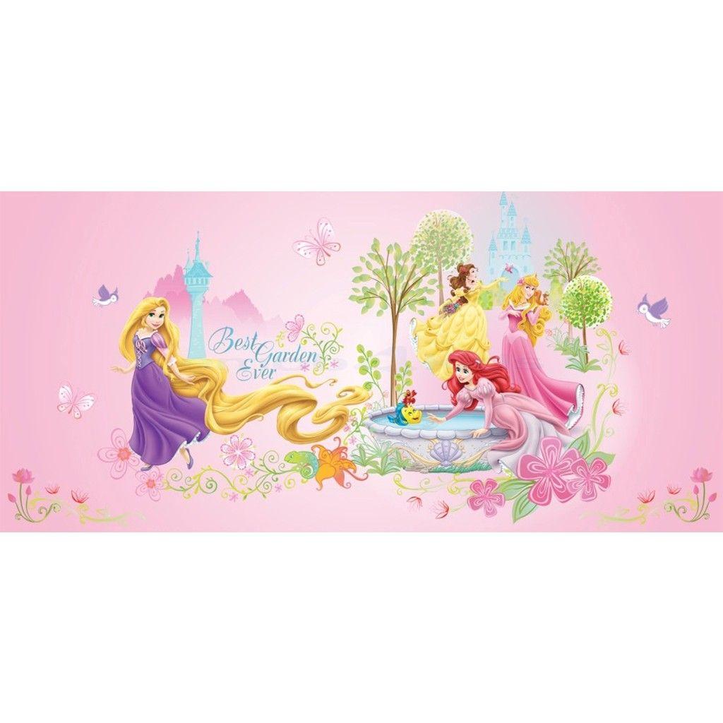 Kinderkamer muurdecoratie voor de kamer van jouw princesje. Rapunzel, Doornroosje, Ariel en Belle aan de muur. Afmetingen: 70cm lang, 33cm hoog #Disney #Princes #Canvas