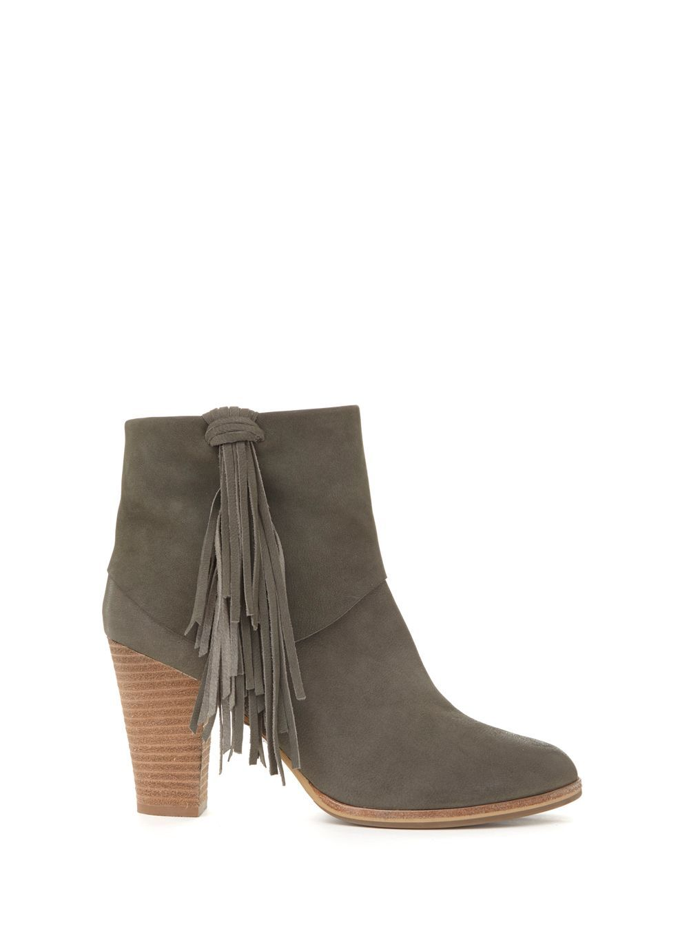 A true statement ankle boot in grey nubuck leather which you will wear  season after season. Featuring side fringe detailing and a blocked heel.
