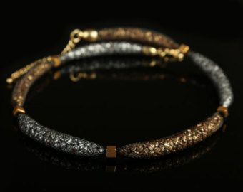 Necklace Cleopatra black nylon mesh tube with by ChiarArtBijoux