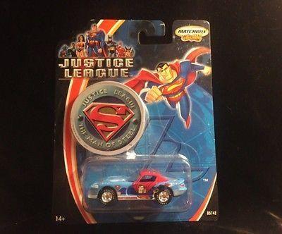 2003 Justice League 1:64 Superman Man of Steel Matchbox Dodge Viper NIB