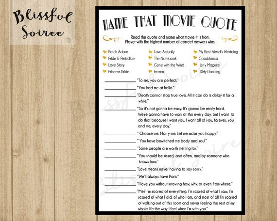 Bridal Shower Game Name That Movie Love Quote Romantic Movie