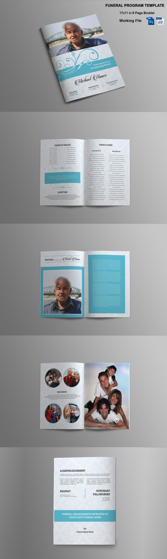 Page Funeral Booklet TemplateV  Brochure Templates