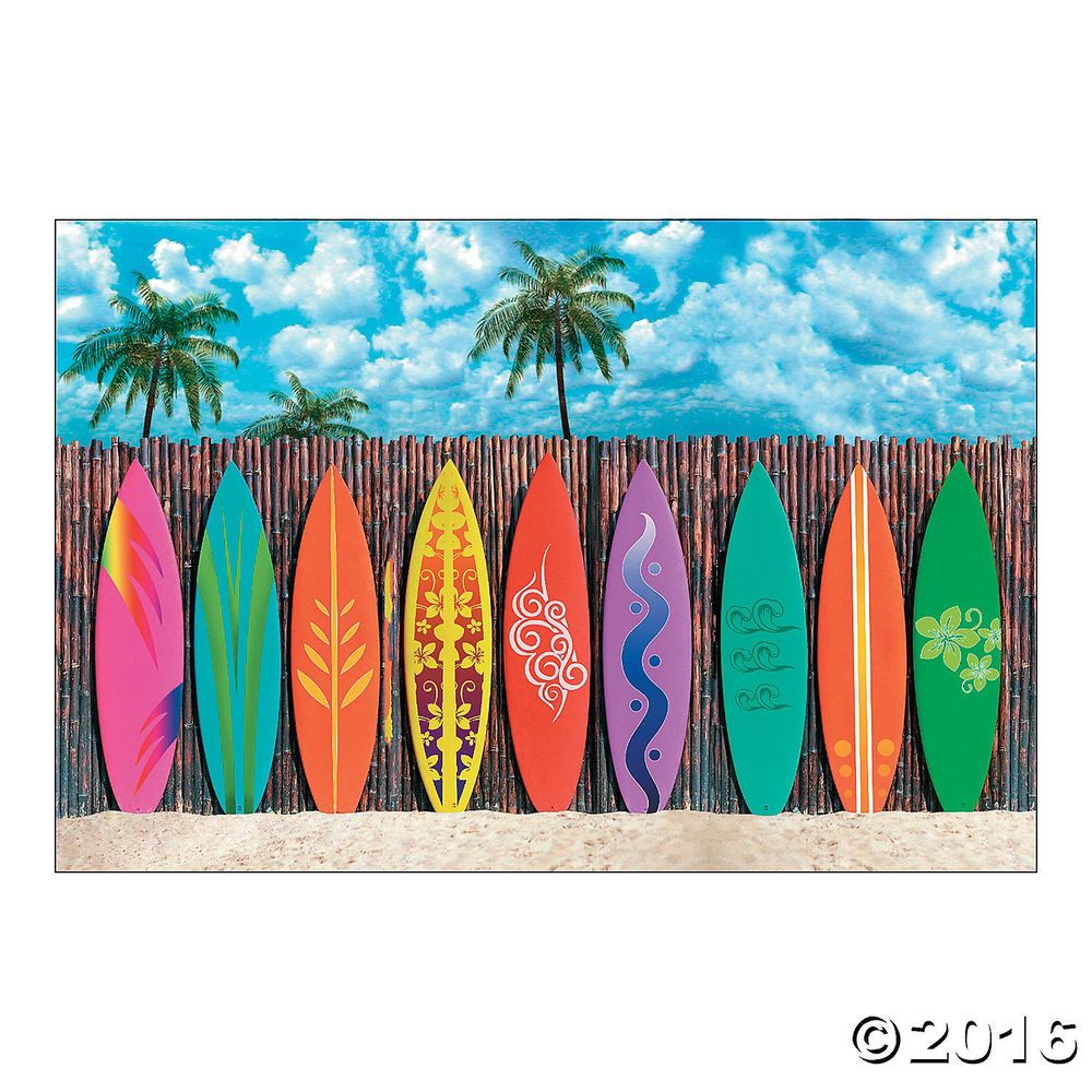Luau beach party decoration wall mural surfs up surfboard luau beach party decoration wall mural surfs up surfboard backdrop photo prop amipublicfo Images