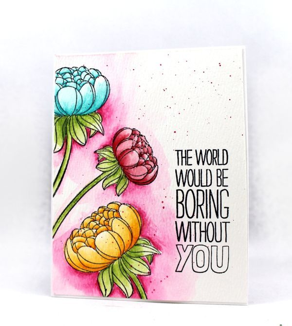 One Layer Stamping With Art Grip Aquarelle Watercolor Pencils