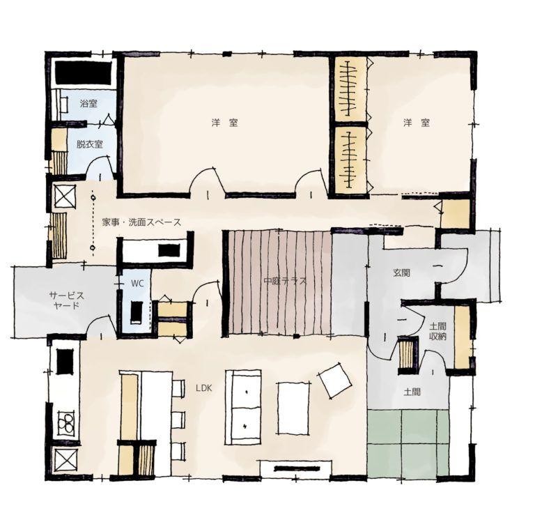 猫と暮らす中庭テラスのある家 家の間取り 間取り 平屋の家