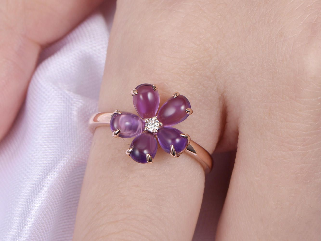 Amethyst Engagement Ring Solid 14k Rose Gold Flower Amethyst Ring ...