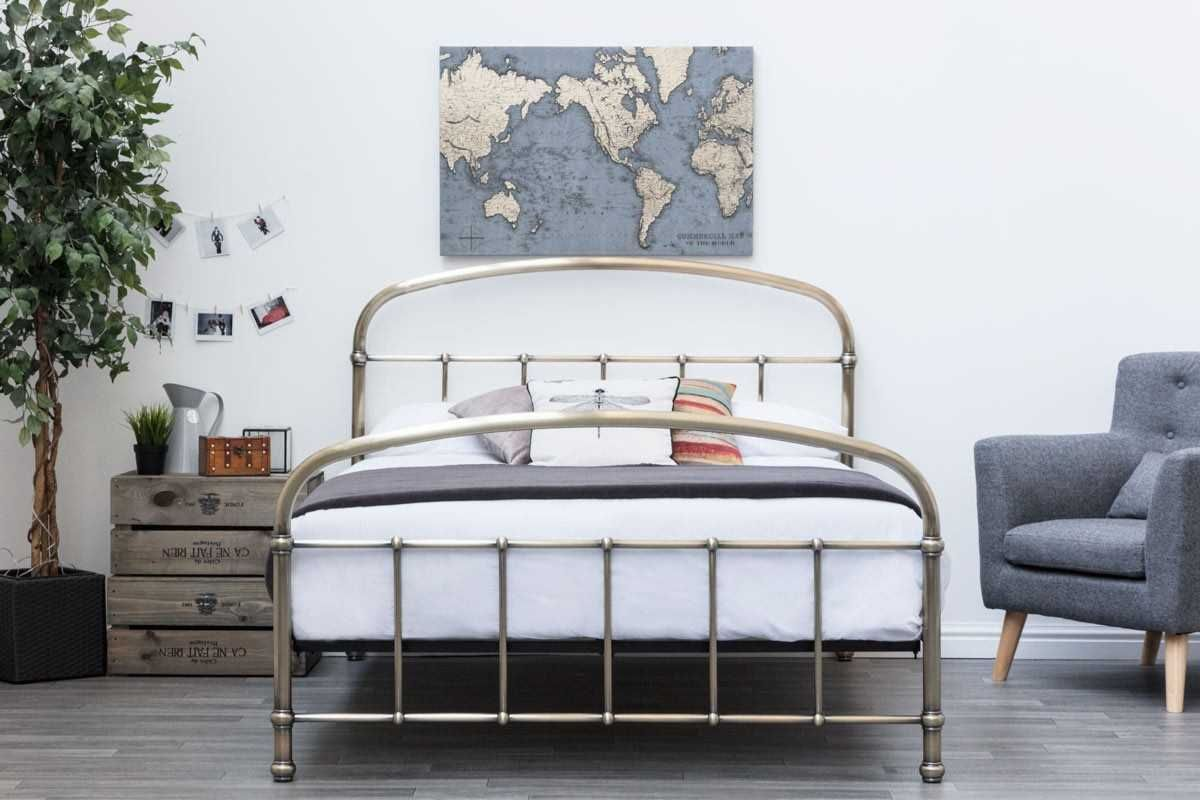 Lichfield Antiqued Brass Victorian Style Bed Frame