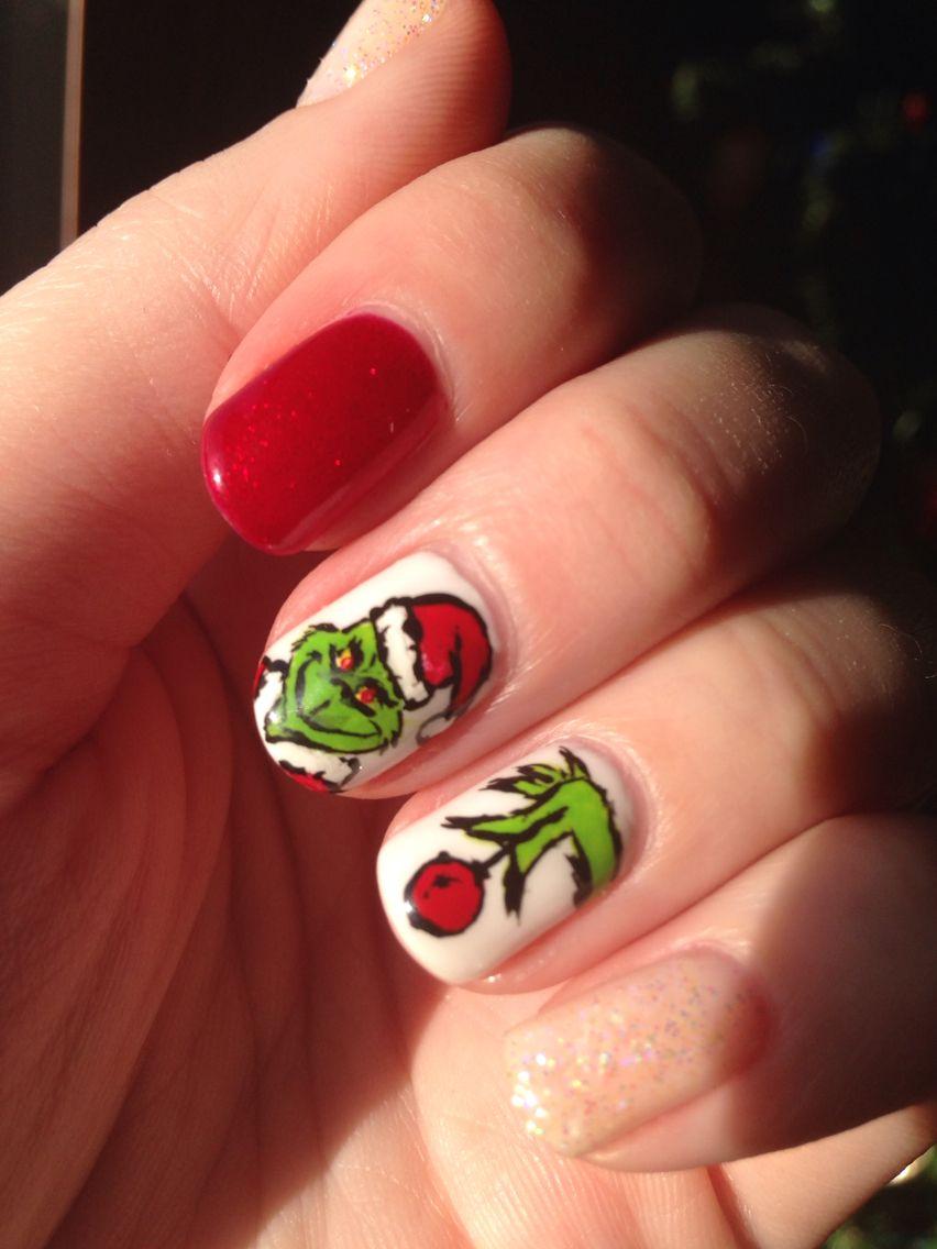 Grinch nails christmas nail art | Nails | Pinterest