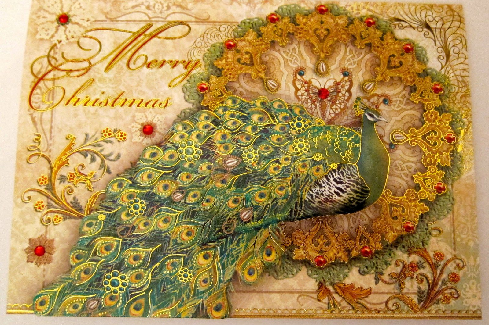 punch studio christmas peacock christmas cards box 15 jeweled georgeous ebay