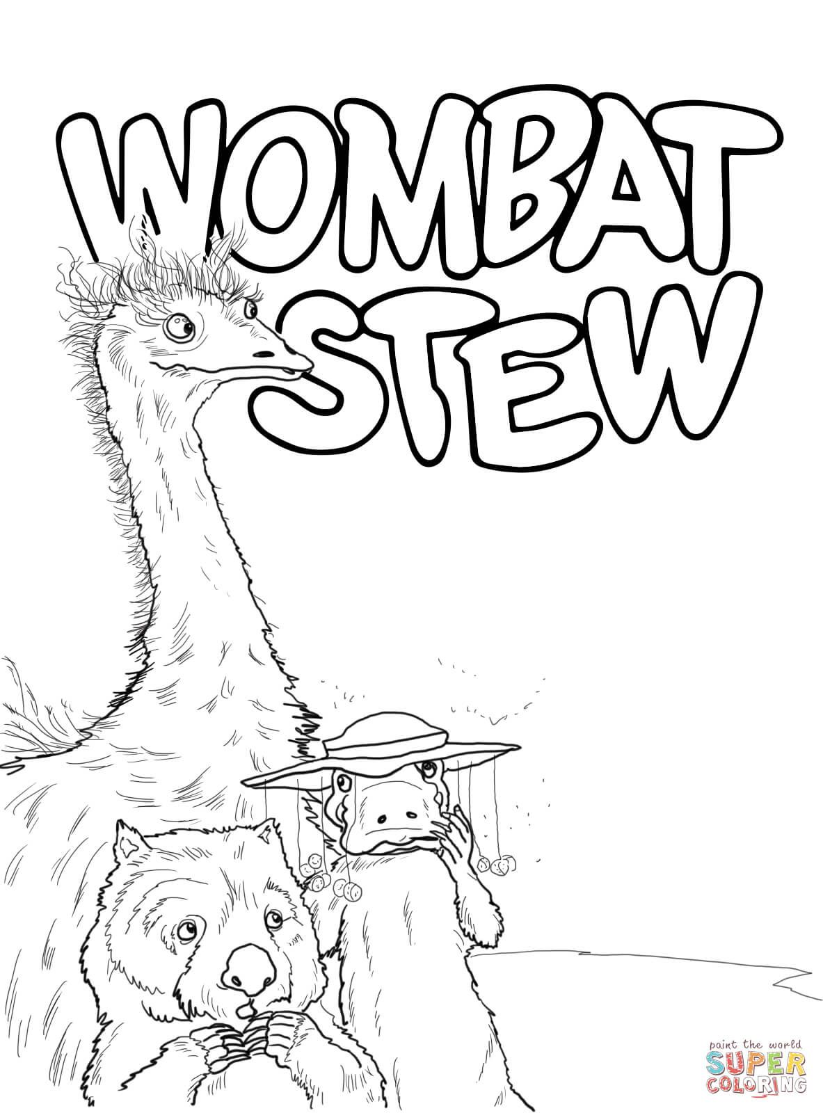 Emu Platypus And Wombat Coloring Page Free Printable Coloring