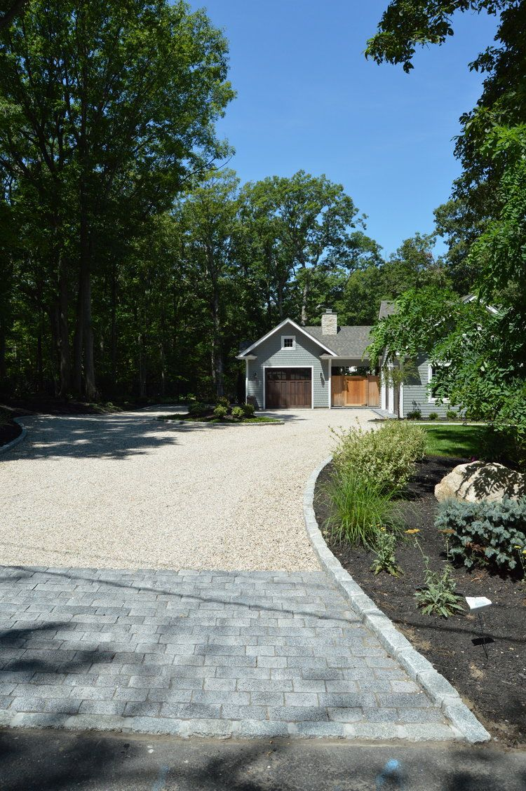 Driveway Skirt With Pavers And Pea Gravel In Port Jefferson Ny Walkway Landscaping Driveway Landscaping Port Jefferson