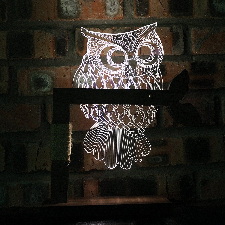 Led night light warm white - Cozywow Home 3d Owl Shape Led Desk Table Lamp Night Light Us Plug Warm White