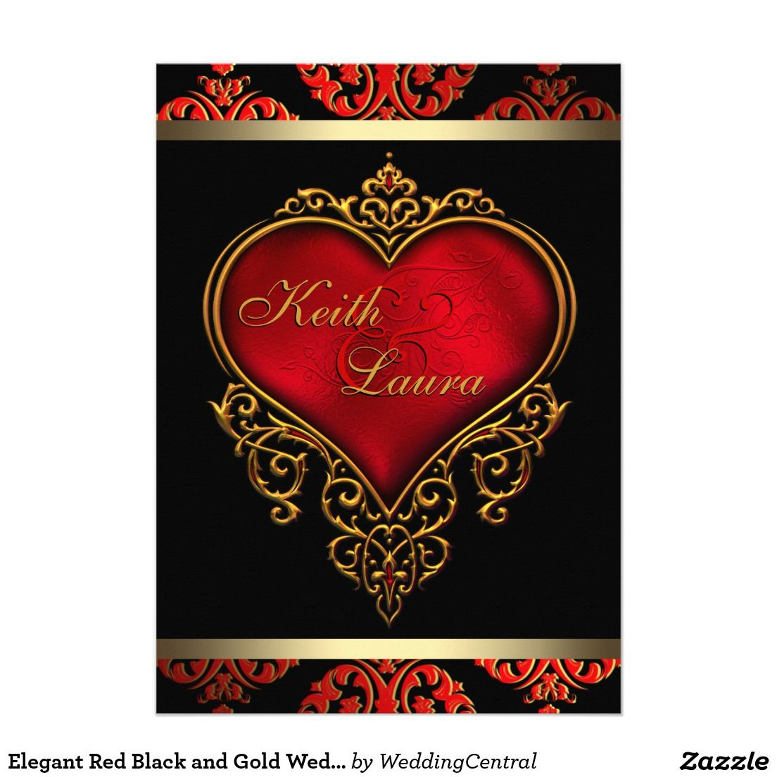 Elegant Red Black and Gold Wedding Card | Gold weddings, Wedding ...