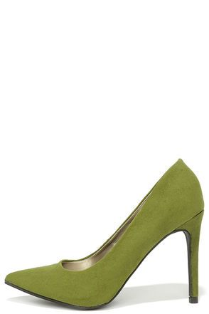 f4fd433397 Get excited because the So Pumped Olive Green Suede Pointed Pumps are going  to elevate your