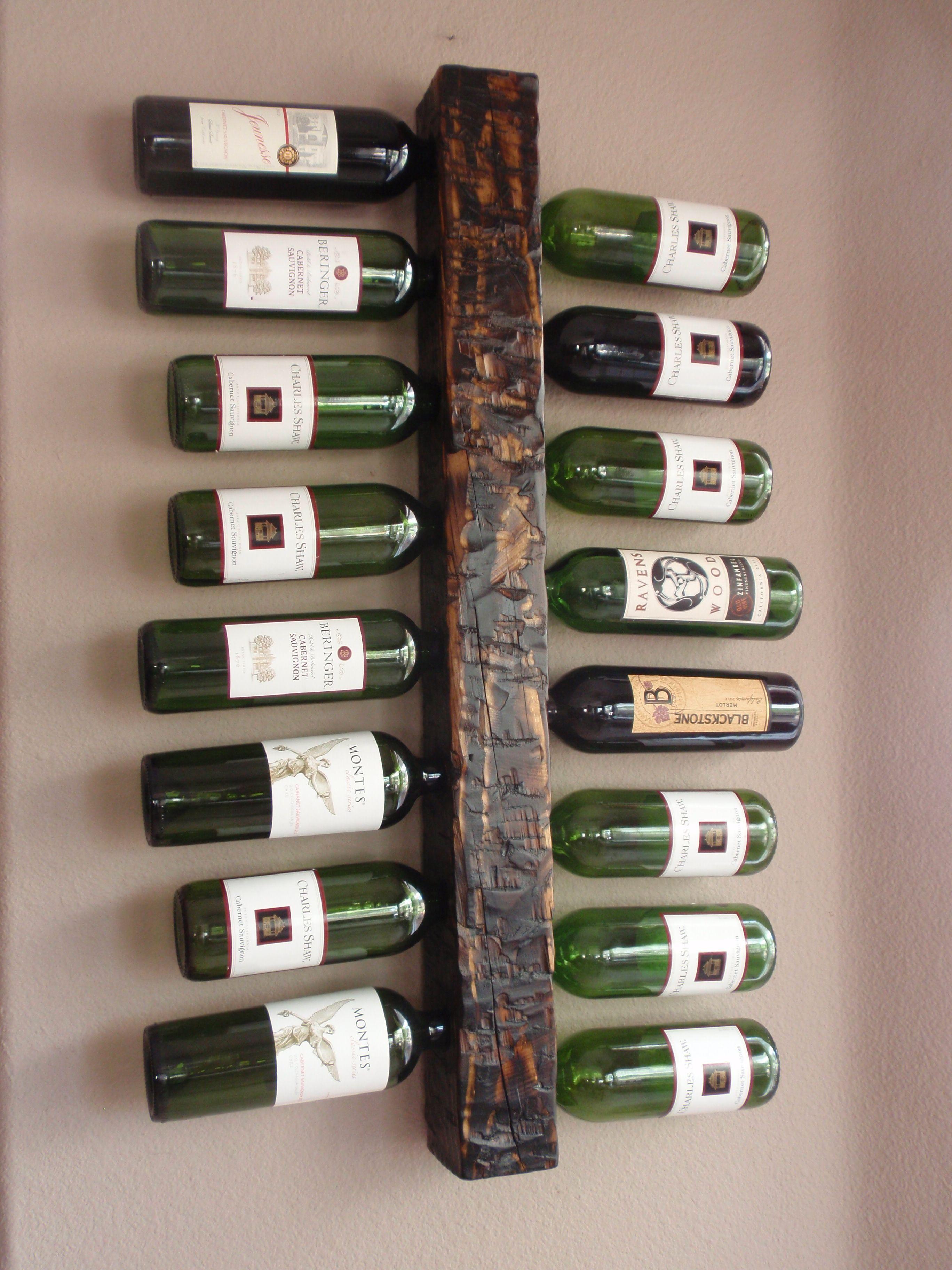 wall wine rack 16 bottle handmade hewn and distressed rustic burned barn beam look - Wooden Wine Rack