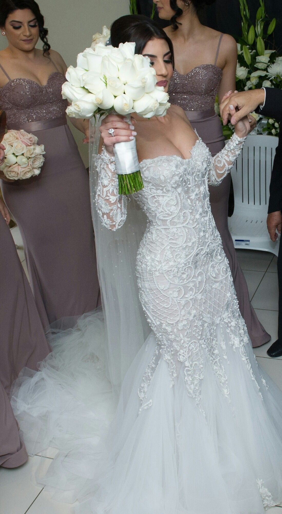 2f05eded51ad Long Sleeve Wedding Dress with Beaded Embroidery from Darius Bridal. Leah  Da Gloria Custom Made Wedding Dress on Sale 46% Off
