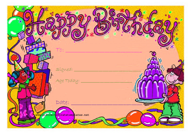 Candy Birthday Gift Certificate Template  Beautiful Printable