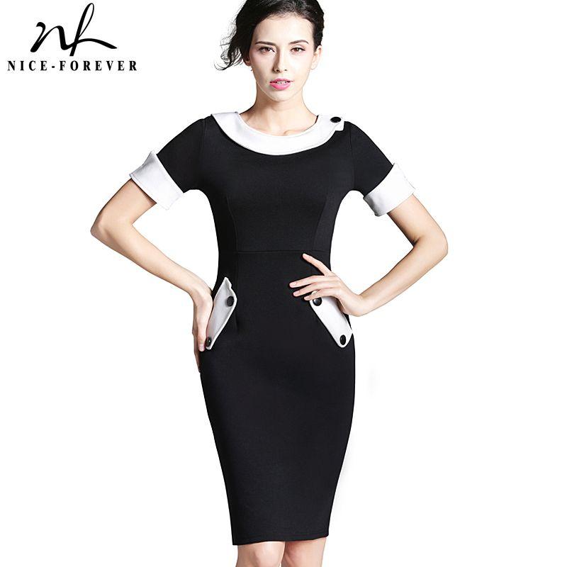 Nice Forever Ladies Office Elegant Women Tunic Plus Size Work Dress
