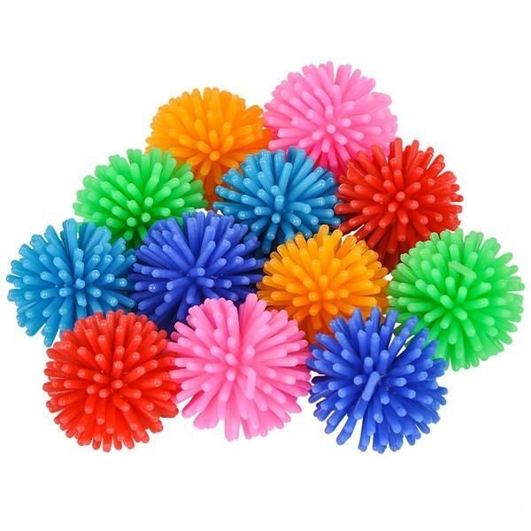 2 EXPAND TWO TONE SPIKE BALLS inflate toy ball blowup inflatable novelties new