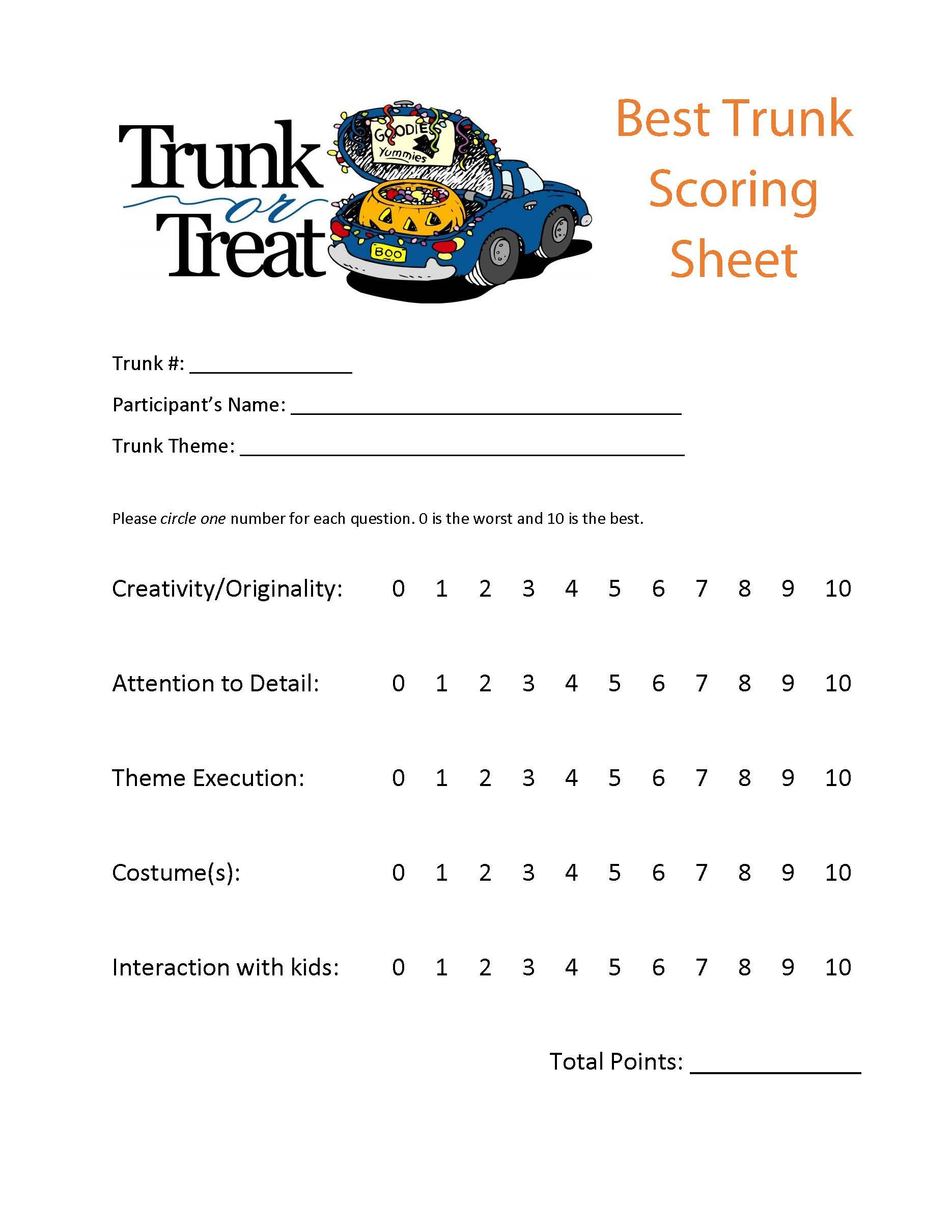 Trunk Or Treat Scoring Sheet Can Be Used For Best Trunk Judging - Car show judging sheet