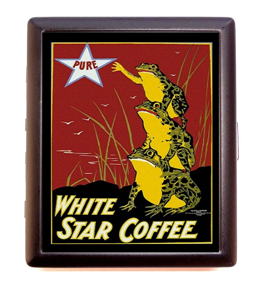 Vintage Frog Coffee Ad Cigarette Case Business Card Case wallet ...