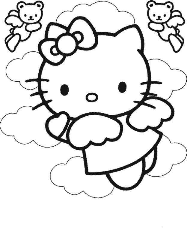 Hello Kitty In The Clouds Coloring Page | fun things | Pinterest ...