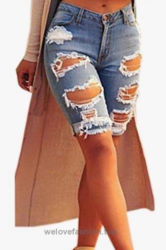 7bb0efbf Dokotoo Womens Casual Denim Destroyed Bermuda Shorts Jeans X-Large ...