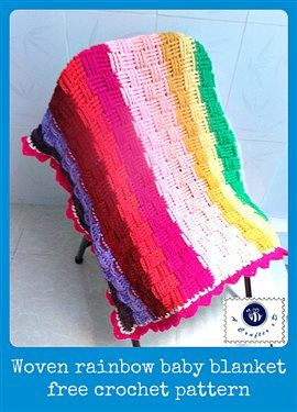 This crochet blanket is a great stashbuster. Woven rainbow baby blanket - Media - Crochet Me