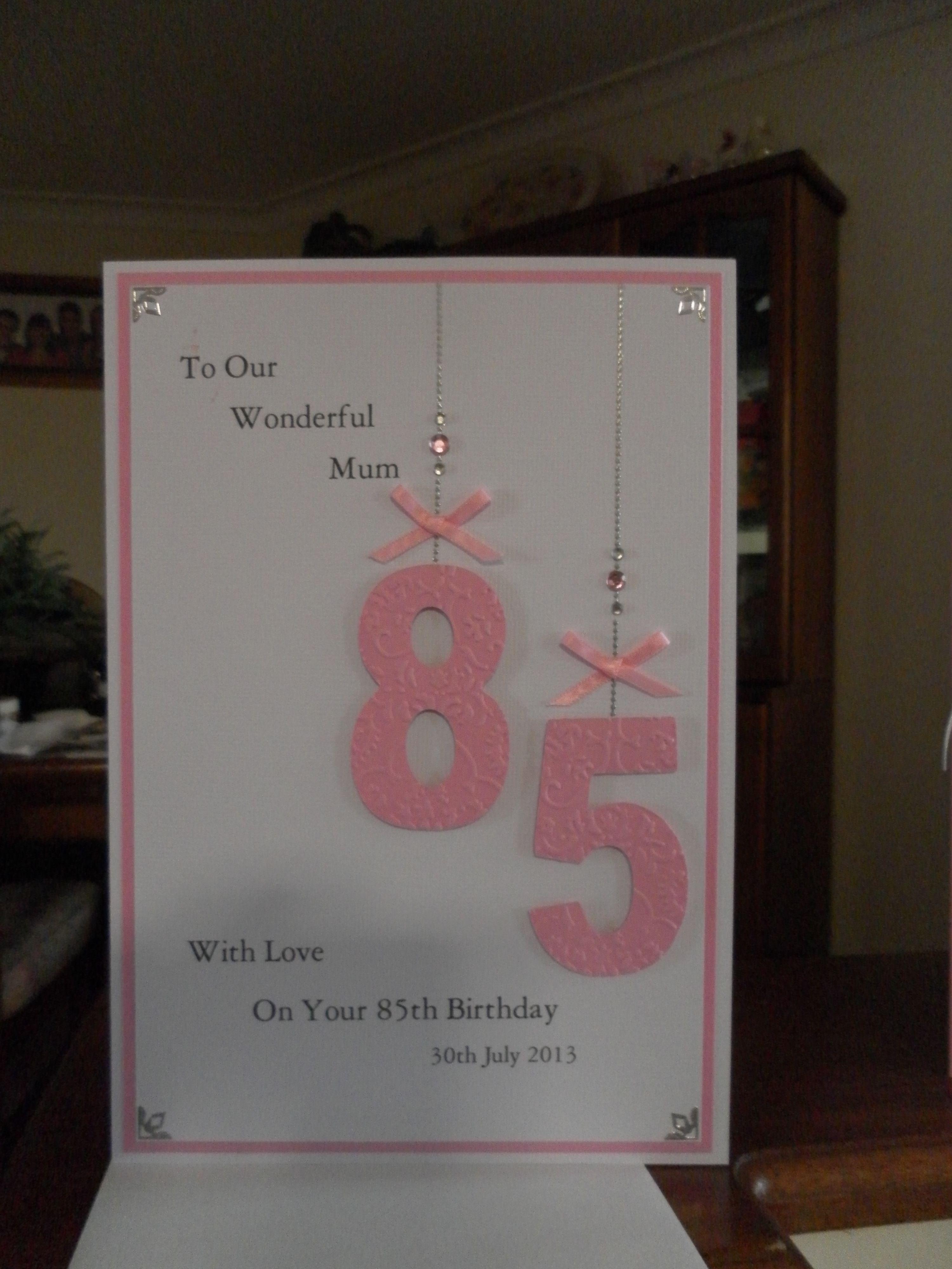 85th Birthday Card Cards Cute Cards 85th Birthday