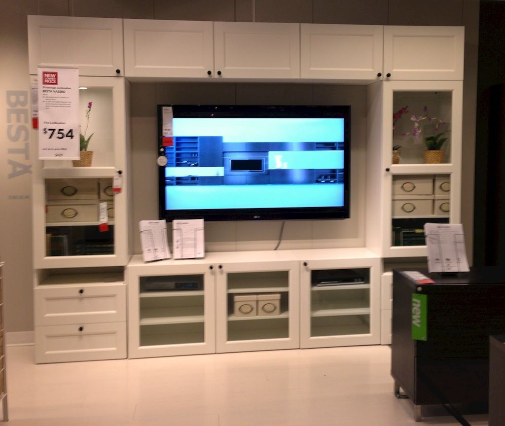 Furniture White Besta Entertainment Center Ikea With Gl Cabinet Door Terrific Centers Designs