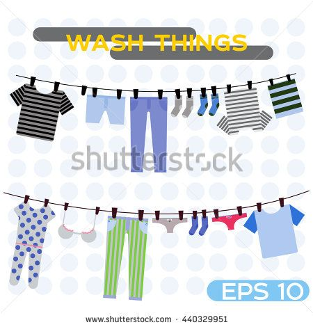 vector illustration wash things. Clothes hanging on a rope. Laundry home. Dried things on the clothesline. Flat illustration wash clothes. Clothespin, pants, shorts, socks, T-shirts, towels.