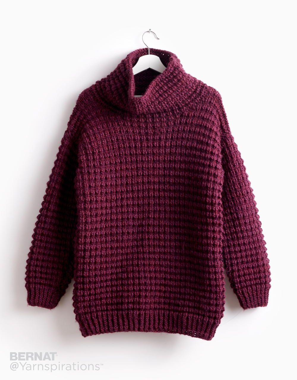 c69454f387b866 The beautiful rich plum color of this easy knit sweater pattern will  brighten up even the most dreary winter day.