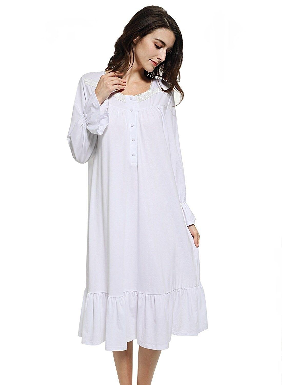 Women s White Cotton Victorian Vintage Nightgown Long Sleeve Martha ... e9714c304