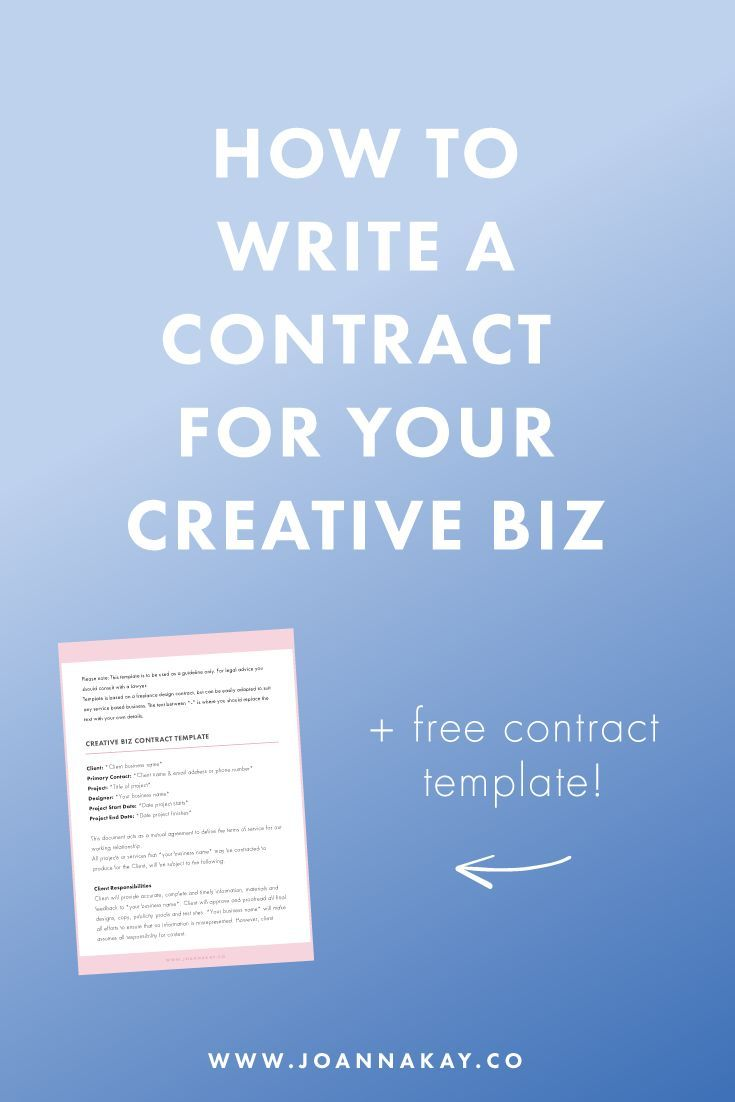 Free Business Contract How To Write A Contract For Your Creative Biz  Free Template .