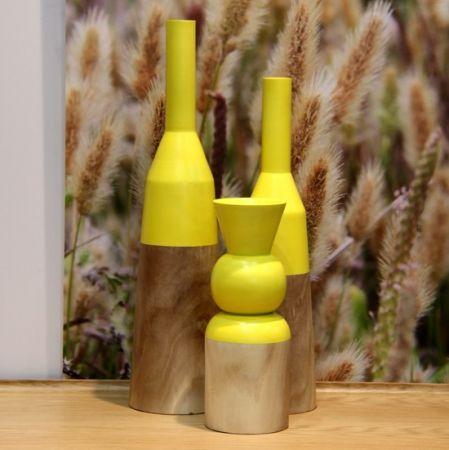 Bishop vase in natural and yellow - hardtofind.