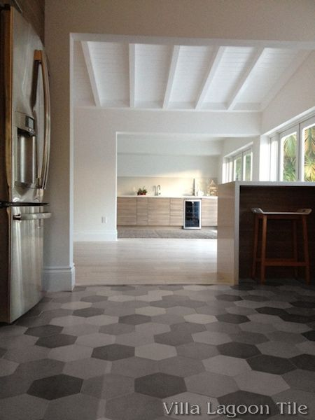 Mixed Gray Hex Cement Tile kitchen floor, from Villa Lagoon Tile ...