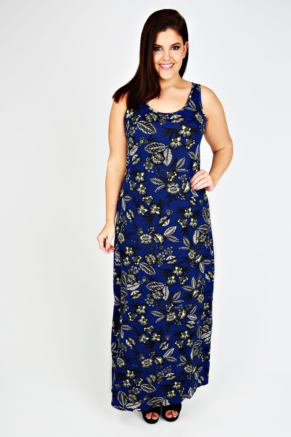 Blue And Yellow Floral Print Sleeveless Maxi Dress Belle Parcelle