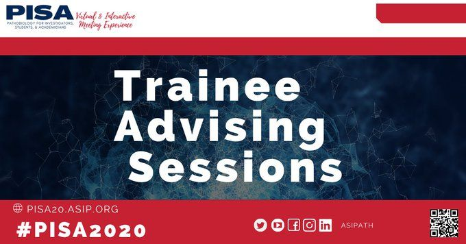 Check out the #PISA2020 Trainee Advising Session Schedule – Nov 9-13! Whether you are considering medical school, need an IDP, a lab or mentor, studying research biotech, or clinical science, there is something for you! #CareerDevelopment #epscoridea #naipiorg #americansocietyforinvestigativ