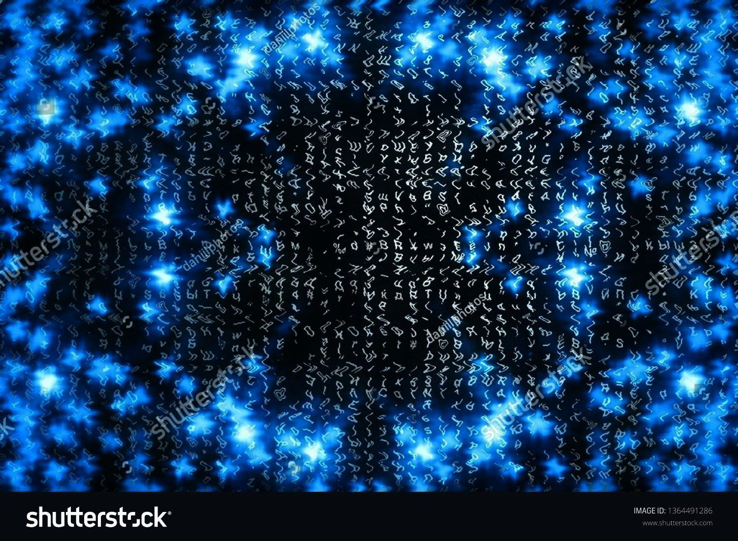 background Abstract cyberspace concept Characters fall down Matrix from symbols stream Virtual reality design Complex algorithm data hacking Cyan digital sparks Blue matr...
