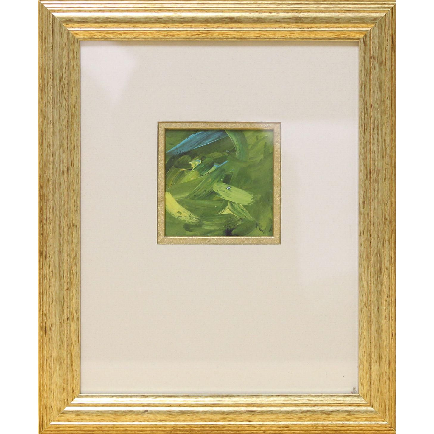 Green & Turquoise Abstract Oil In A Goldtone Frame Abstract