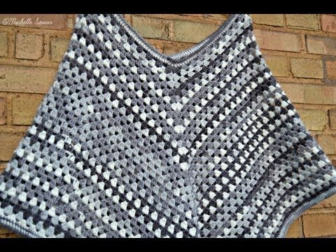 Diy Granny Stripe Poncho Youtube Ponche Pinterest Häkeln