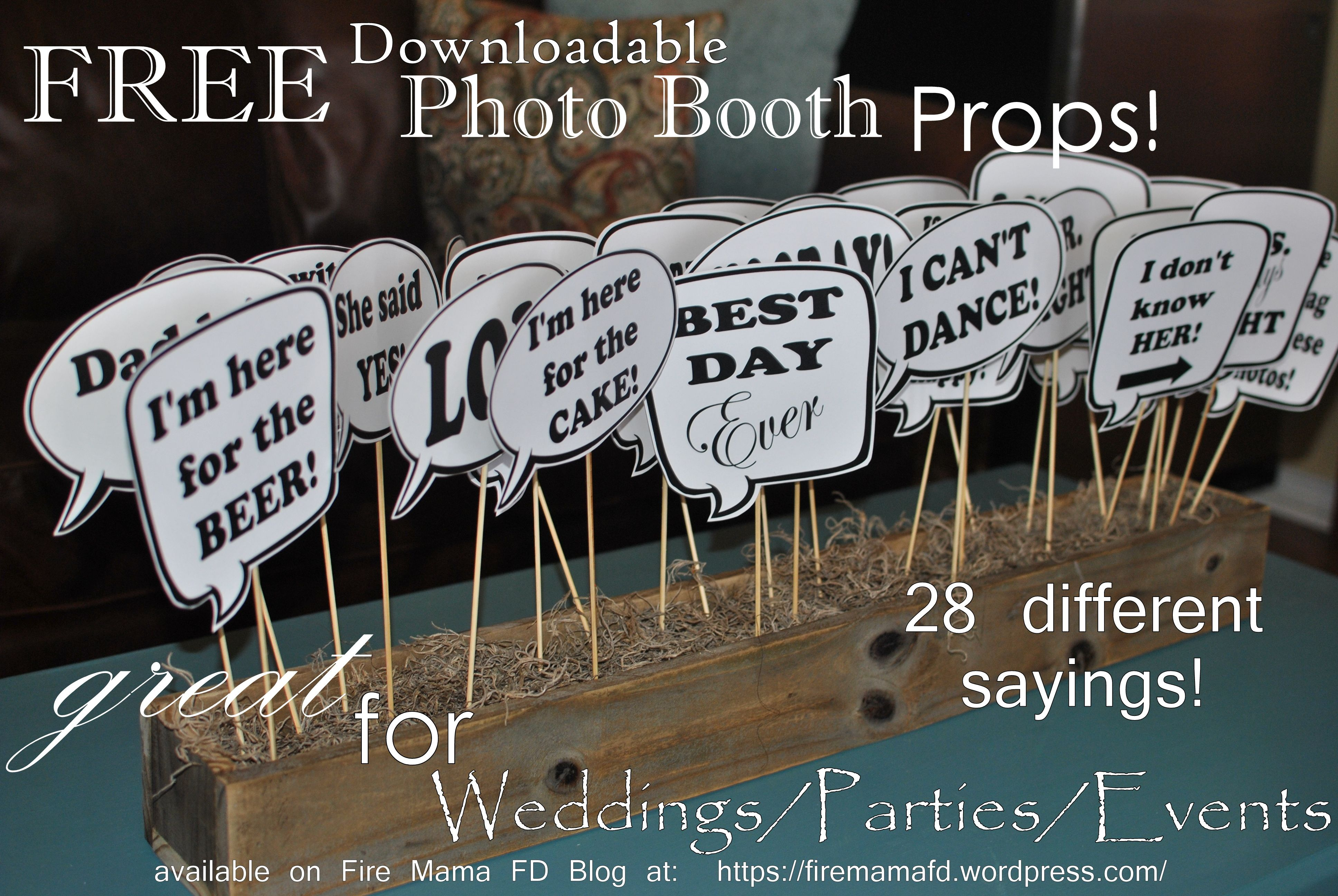 Free Download Of Photo Booth Prop Sayings For Birthdays Weddings